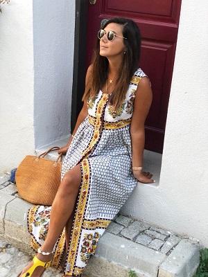 Bozcaada Gün Batımı Otantik Bohem Elbise